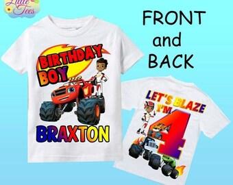 15% Off Blaze and the monster machines shirt/ blaze and the monster machines birthday shirt/ birthday boy shirt/ blaze birthday shirt /167