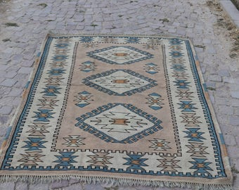 Tribal Rug, Vintage Rug, Pastel Color Rug, Bohemian Rug 4.4 x 6, Free Shipping Handknotted Wool Rug, Boho Rug, Oushak Rug, Floor Rug No 1172