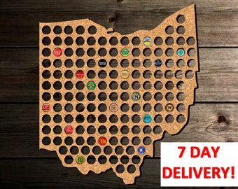 Birthday Gift for Him, Ohio Beer Cap Map Ohio, Christmas Gifts for Him, Gift for Him from Wife, Anniversary Gift for Him, Valentines for Him
