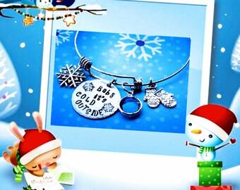 Baby it's cold outside, Holiday bracelet, Holiday jewelry, Christmas bangle, Christmas bracelet, Snowflake bracelet, Snowflake jewelry