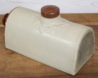 Antique Vintage Salt Glazed Stoneware 3 Pint Hot Water Bottle Bed Foot Warmer