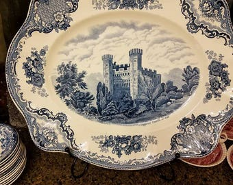 "Rare Antique  Old Britain Castles 15"" Oval Serving Platter // Johnson Brothers"