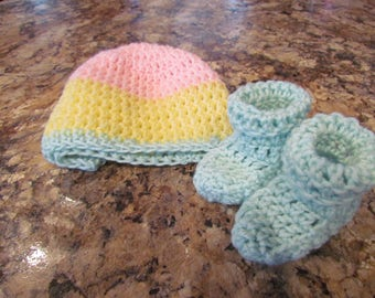 Baby Beanie and Booties