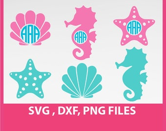 sea horse SVG, starfish svg, sea star svg, sea shells svg, DXF, PNG Formats 0035
