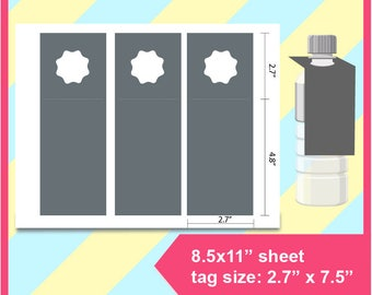 "water bottle gift tag, water bottle Template, PSD, PNG and SVG Formats,  8.5x11"" sheet,  Printable 161"