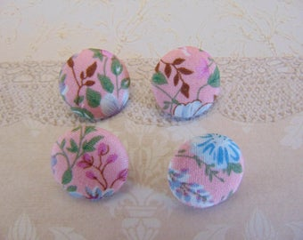 4 x buttons 19mm pink flowers TOUR2 fabric