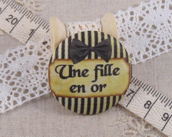 x 1 cabochon 28mm fabric a ref A13 golden girl