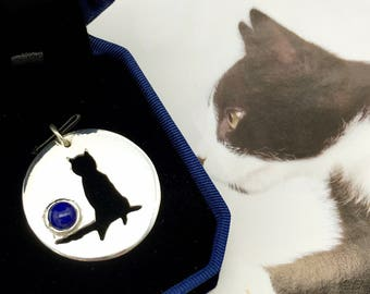 Sterling silver cat necklace with lapis/gem cat necklace/one of a kind handmade cat necklace