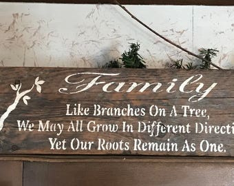 Family Like Branches On a Tree We May All Grow In Different Directions Yet Our Roots Remain As One - Barn Wood Sign - Rustic Wall Decor
