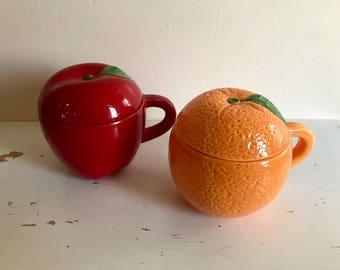 Apple and Orange Kitchen Containers /Porcelain/Red/Orange/Tea/Coffee/Fruit/Retro