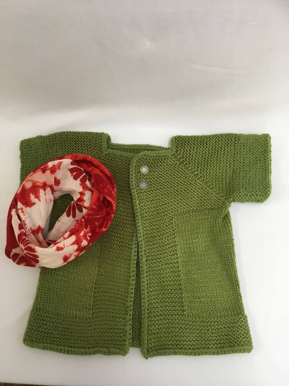 Christmas Sweater and Infinity Scarf size 3-5 Hand Knit and scarf is hand made