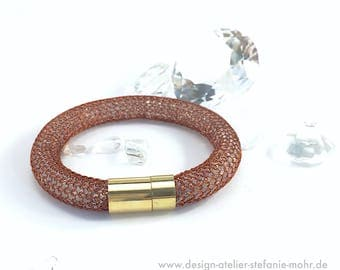 wire crochet  BRACELET -  brown copper wire filled with rock crystal chips
