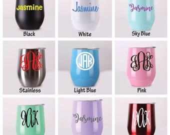 Stainless Steel Stemless Powder Coated Wine Tumbler with Lid Personalized Gifts Bridesmaid, Bride Drink Name Monogram BPA Free 12 oz