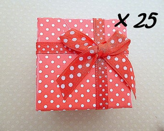 Set of 25 boxes rings red 5x5x3cm
