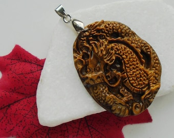 Tiger's eye, Dragon, amulet pendant with silver of plated ring