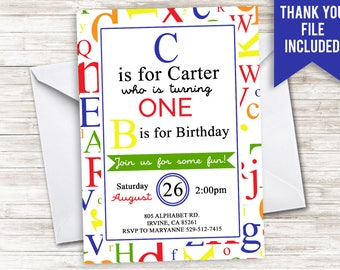 Alphabet Birthday Invite Digital Invitation ABC 123 5x7 Kids Neutral Children Learning School