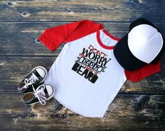 Don't Worry My Daddy Has A Beard Embroidered Shirt, Father's Day Kid Shirt, Boy Summer Shirt, Daddy Boy Shirt, Toddler Boy Shirt
