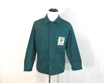 70's euro vintage cotton poly blend work jacket made in france