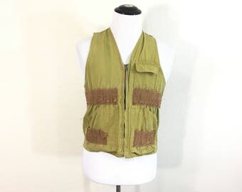 60's vintage 100% cotton zip up hunting vest game pocket
