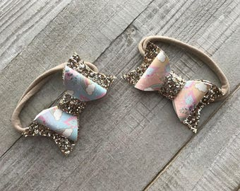 Ombre Unicorn Bow| Glitter Bow|faux leather bow|