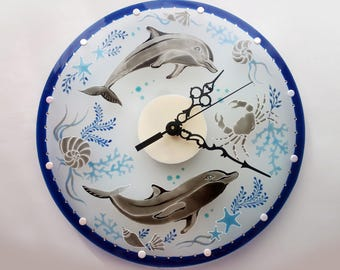 Hand painted glass wall clock with dolphins, glass painting, painting on glass, stained glass, blue wall clock, nautical wall clock