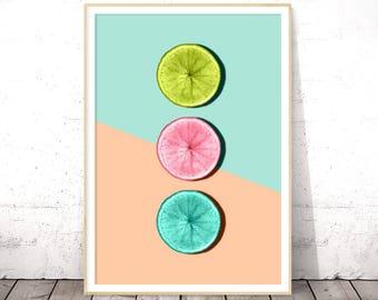 Citrus Fruit Decor, Kitchen Poster, Citrus Print, Grapefruit Wall Art, Instant Digital Download, Modern Kitchen Poster, Modern Minimalist