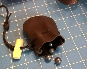 Small Leather Ball/Shot Bag Hand Stitched