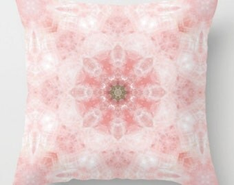 Rose Quartz Mandala Pillow with Insert ~ Pink Throw Pillow in Assorted Sizes ~ Unique Home accessories ~ Feng Shui Home Decor ~ Unique Gift