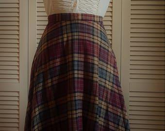 Vintage Skirt, Wool, Plaid