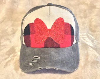 Minnie Mouse Flannel Ears on Black and White Canvas Baseball hat