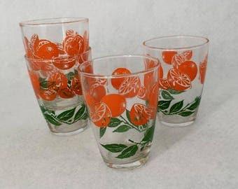 Vintage Orange Juice Glasses