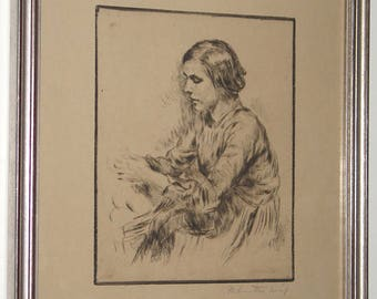 Izsak Perlmutter Pencil Signed Drypoint Etching Peasant Girl Hungary c. 1920 Framed
