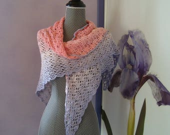 Pink Purple cotton crochet shawl scarf/shawl scarf shoulder warmer