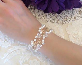 Bridal bracelet pearl bracelet Bridal wrist corsage crystal rhinestone bridal wrist corsage
