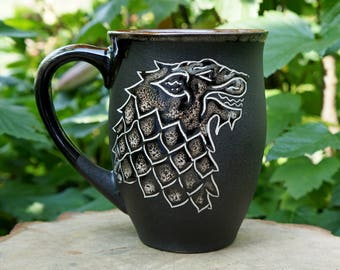 Game of thrones mug Large coffee mug Husband gift House Stark Ceramic mug Winter is coming Brother gift Black mug New dad gift Wolf gifts