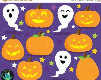 75% OFF SALE Halloween Clipart, Pumpkin, Ghost, Commercial Use, Digital Clipart, Digital Images - UZ1001