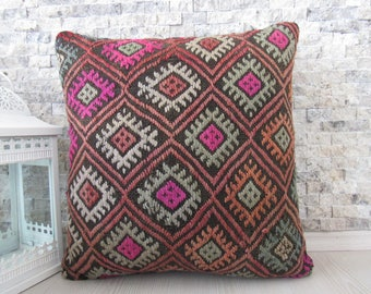 Natural Color Straight Woven Vintage Kilim Pillow 18x18 Modern Decorative Turkey Pillow Boho Pillow Turkish Bolster 18x18 Organic Pillow