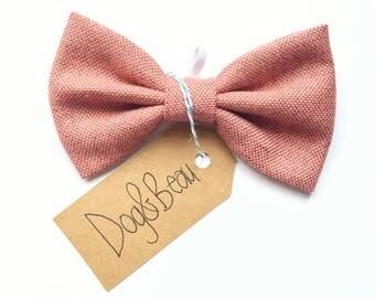 dog bow tie, tweed dog bow tie, pink dog bow tie, dog clothing, puppy bow tie, detachable bow tie, pet bow tie