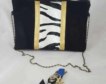 Black Suede and faux leather Zebra NINA handbag