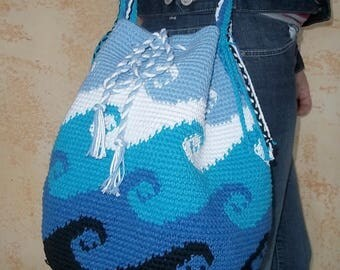 "Pouch shoulder bag type ""Mochila"" crocheted in boring, wavy black, blue and white"