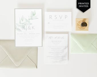 Watercolor Branch Invitation - Eucalyptus Wedding Invitation - Gray Marble Suite - Wedding Stationery Package - Botanical Blue Green