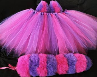 Cheshire cat tutu with tail & ears, fantasy, raves, dress up , halloween, pink, purple, pageant, gift, party, women's tutu, festival tutu