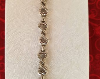 9.8 gr Vintage Sterling Silver Link Bracelet with Genuine Diamonds