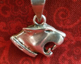 CP089 Vintage Sterling Silver Necklace with Panther Pendant