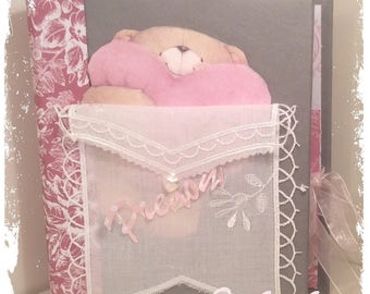 """photo album newborn shabby chic personalized """"Princess"""" pink and white for 24 large photos"""