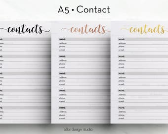 Contact Printable, A5 Planner Inserts, Contacts Planner, Printable Planner, Gold Foil, Address Book, Contact Tracker, A5 Planner