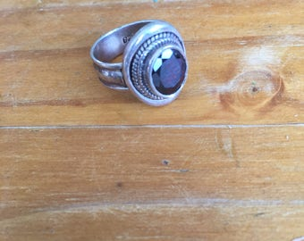Garner and pure silver ring