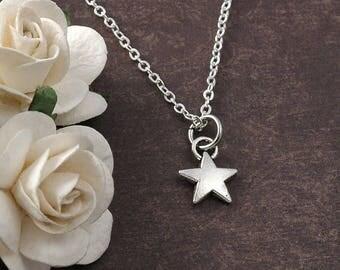 ON SALE Star Necklace Silver Star Necklace, Personalized Star Charm Necklace, Silver Star Pendant, Tiny Star Jewelry