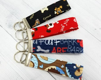 Key Wristlet - Dog Key Fob - Key Ring - Keychain - Quilted - Gift for Teacher, Dog Lover, Dog Mom, Best Friend, Mom, Pet Sitter, Valentine