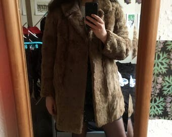 Vintage Brown Faux Fur Coat